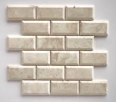 Oracle Tile And Stone Marble by Cappuccino Marble 2x4 Deep Beveled Polished Brick Mosaic Tile