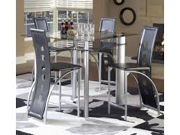 Astro Contemporary 5-Piece Smoked Glass Top Counter Height Dinette Set With  Black Vinyl Chairs By Bernards At Wayside Furniture