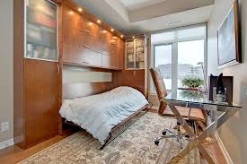 canada ikea murphy bed bedroom beach style with white brick walls