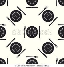 Plate With Clock Fork And Knife Icon Seamless Pattern On White Background Lunch Time Eating