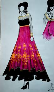 Fashion Design Sketches Of Indian Wedding Dresses Hibiscus Hues Art Wardrobe