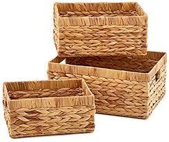 ezoware 3er set natürlich wasserhyazinthe korb handgewebt rechteckig allzweckkorb aufbewahrungskorb regalkorb mit griffen ideal für küche badezimmer