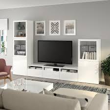 bestå tv komb mit vitrinentüren weiß selsviken hochglanz klarglas weiß 300x42x193 cm