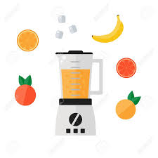 Blender Icon Isolated On White Background Food Processor With Smoothie Fruits Orange