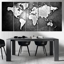 Black And Metalic World Map Canvas Print Ready To Hang Framed Large Wall