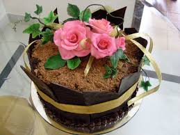 Pink Roses on a Chocolate cake