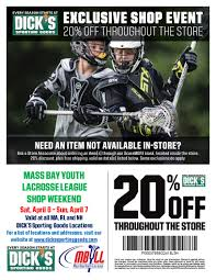 Dick's Sporting Goods   Mass Bay Youth Lacrosse League How To Use A Dicks Sporting Goods Promo Code Print Dicks Coupons Coupon Codes Blog 31 Hacks Thatll Shock You The Krazy Coupons Express And Printable In Store 20 Off Weekly Ads 20 Much Save With Shopping Deals Promotions Goleta Valley South Little League Official Retail Sponsor Of The World Series