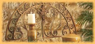 Meditteranean Style Tuscan Wall Art Decor Panels Plaques Grand Iron Metal Candle Holder Sculptures Pottery Bronze