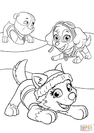 Everest Plays With Skye And Rubble Coloring Page