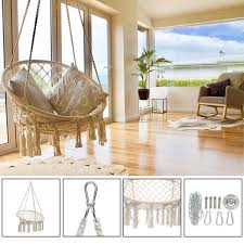 großhandel runde hängematte schaukel hängesessel outdoor indoor möbel hängematte stuhl für garten schlafsaal erwachsene mit werkzeuge d19011702
