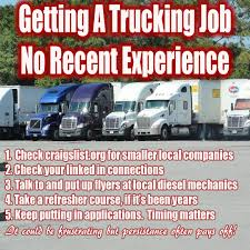 Ex Truckers Getting Back Into Trucking Need Experience