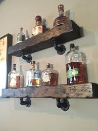 Distressed Wood Shelves Wooden Material Metal Holder Classic Look White Wall For Liquor Bottles