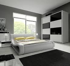 details zu hochglanz komplett schlafzimmer angelo mit designer polsterbett weiß schwarz