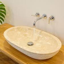 marmor waschbecken mara oval gehämmert creme 70x40x13 cm kaufen