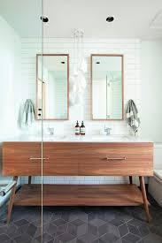 vancouver mid century credenza bathroom contemporary with mirrors