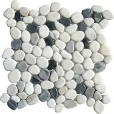 ms international 12 in x 12 in black white pebbles marble mosaic
