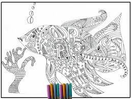 Fish Coloring Page Adult Zentangle Inspired For Adults Colouring Print