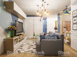 100 Interior Design For Studio Apartment 3d Illustration Living Room And Kitchen Modern In The Scandinavian Minimalist Style Stock Photo Download Image Now