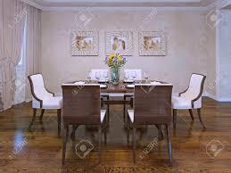 design of esszimmer in privathaus schöne weiße stühle mit holz carcas serviert holztisch im zimmer mit cremefarbenen gipswänden 3d übertragen