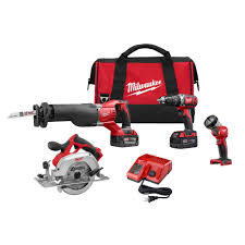 Milwaukee M18 18 Volt Lithium Ion Cordless bo Tool Kit 4 Tool