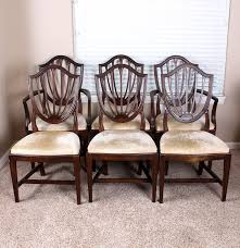 Ethan Allen Mahogany Dining Room Table by Hepplewhite Style Shield Back Dining Chairs By Ethan Allen Ebth