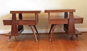 mid century modern triple tiered end tables by american of