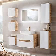 lomadox badezimmer set hochglanz weiß wotaneiche