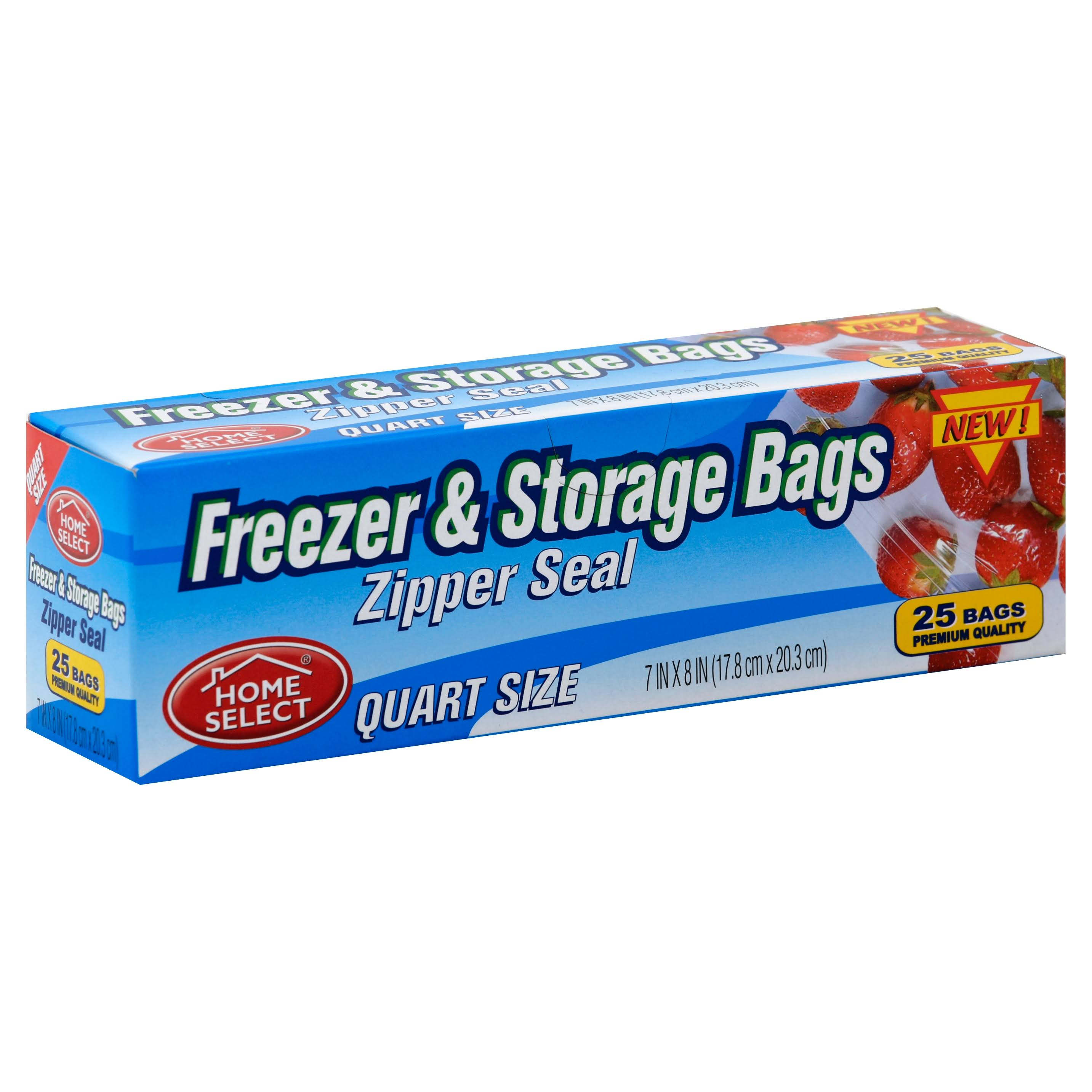 Home Select Freezer & Storage Bags, Zipper Seal, Quart Size - 25 bags