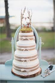 Lace And Burlap Inspired Wedding Cake 2