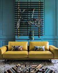 Teal Color Living Room Decor by Modern Teal Living Room With Mustard Leather Sofa Decorah