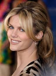Save Brooklyn Decker Curly Blonde Low Vintage Bridesmaid Ponytail With Bangs For Vacation Like This Hairstyle