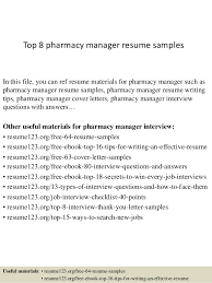 Top 8 Pharmacy Manager Resume Samples Template Downloadable Sample