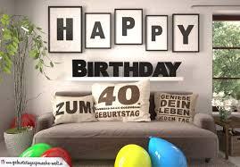 happy birthday wohnzimmer sofa mit kissen und spruch
