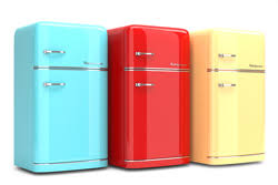 Retro Refrigerators In Blue Red And Yellow