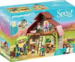 playmobil konstruktions spielset stall mit lucky pru abigail 70118 spirit free made in germany