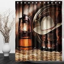 Western Cowboy Rustic Style Waterproof Window Bathroom Shower Curtain 60x72