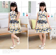 10 Year Girls Children Vintage Clothing Fashion Kids Dress European Clothes Floral Summer For