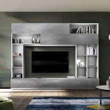 tv wand in beton grau und weiß modern