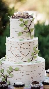 This Rustic Wedding Cake Resembles A Birch Tree With The Couples Initials Carved In It
