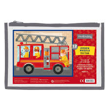 12 Piece Pouch Puzzle Of A Fire Engine Ladder Truck - Owls Hollow ...