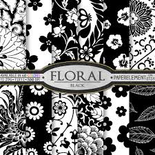 A Set Of 24 Including 12 With Inverted Colors Black Floral Printable Scrapbook Paper