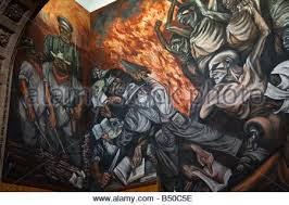 mural by jose clemente orozco in classroom in the university of