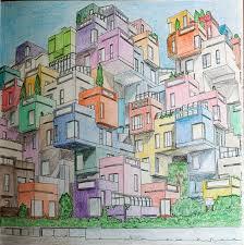 From Fantastic Cities Coloring Book Habitat 67