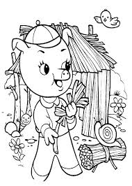 Three Little Pigs Collecting Fire Wood Coloring Pages