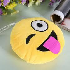 Funny Emoji Emoticon Yellow Stuffed Cushion Pillow Round Plush