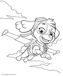 Skye Paw Patrol Coloring Pages Free Sky Ryder Colouring Page Chase Sheets And