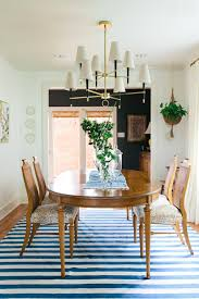 Adding A Simple Striped Rug In An Easy Color Like Blue Is Great Way To Update Traditional Dining Room Just Imagine The Space Shown Above Without
