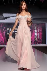 pink beaded off the shoulder chiffon prom gown evening dress