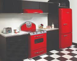 Luxurious Kitchen Design With Stylish Red Detail Black And Chessboard Floor Retro Kitchens1950s