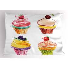 Cupcake Pillow Sham Pastel Toned Watercolor Bakery Goods With Yummy Fresh Fruit Flavored Paintbrush Art Decorative Standard Queen Size Printed